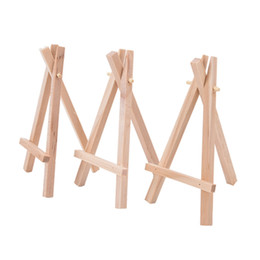 mini easel wedding UK - 8x15cm Natural Wooden Mini Tripod Easel Mini Display Stand for Wedding Place Name Holder Menu Board