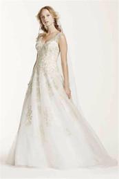 $enCountryForm.capitalKeyWord Australia - 2019 New Jewel Tank Tulle V-Neck Beaded Wedding Dress Luxurious Crystal Embellishment Gold Lace Applique Bridal Dress vestido de noiva 431