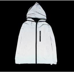 Discount motorcycle reflective jacket - 3M Full Reflective Jacket Mens Flash Shinny Coat Street Wear Motorcycle Jackets Hip Hop Men Hooded Zip Jackets