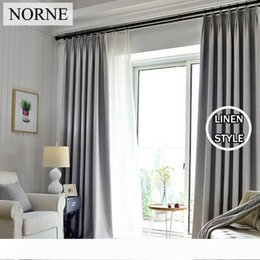 green white curtains UK - NORNE Solid Blackout Curtain 85% Shading Rate Thermal Insulated Grommet Noise Blocking Window Curtains for Bedroom Living Room,One Panel