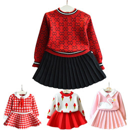 chinese suit skirt Australia - Baby girl clothes new female baby sweater set children's plaid printing knit suit sweater girls warm sweater skirt two-piece