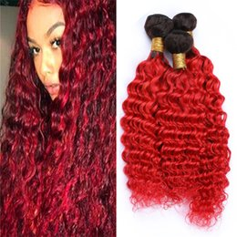 $enCountryForm.capitalKeyWord Australia - Dark Roots Red Ombre Deep Wave Human Hair Weave Bundles Deep Curly Black and Red Ombre Virgin Peruvian Hair Weft Extensions