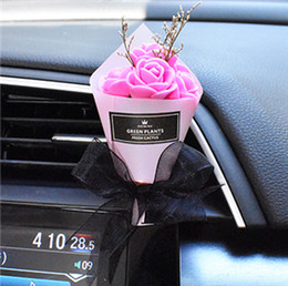 dry flowers for wedding UK - 1 Piece Car Styling Air Vent Dry Foam Flower Ornaments Car Perfume Best Gift For Wedding Birthday Decoration