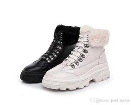 $enCountryForm.capitalKeyWord Australia - 2018 New Arrival Winter Rabbit Hair Leather Fashion Women Ankle Boots All Black White Bottines For Snow Bottes High Quality Size 35-39