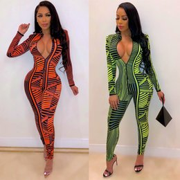 jumpsuit zippers NZ - Sexy Jumpsuits New Fashion Hot Sale Female Long Sleeve Zipper Printed Striped Tight Club Nightclub Party Trends Stylish Wind 2 Color