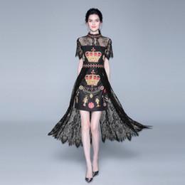 $enCountryForm.capitalKeyWord Australia - Fashion New Summer Women's Lace Panelled Dresses,Beauty Crown Printed Midi Skirts,Stand collar,Short Sleeve Body Sliming Dress