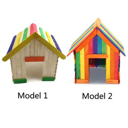 wood toy house wholesale Australia - Wholesale Creative Wooden DIY Crafts Natural & Colorful Ice Cream Wood Sticks Match Stick Children Handmade House Toys Food DIY Materials