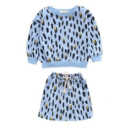 leopard print clothes for baby girls Australia - lememogo New Autumn Girls Sweater Sets Baby Kids Cotton Cartoon Leopard Print Skirt 2Pcs Suit for Casual Children Clothing Girl