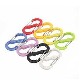 plastic spring keychain Australia - 10pcs ABS Plastic S Type Carabiner EDC Spring Keychain Backpack Quick Hook 8 shaped Lock Buckle Outdoors Camping Hiking Tools