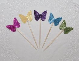 $enCountryForm.capitalKeyWord Australia - mix colors Glitter butterfiles cupcake toppers Wedding Food treat Picks Bridal wedding birthday toothpicks decorations Party Supplies Event