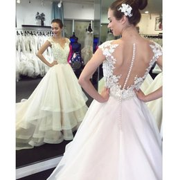 $enCountryForm.capitalKeyWord Australia - Classic A Line Wedding Dresses Cap Sleeve Covered Button Sweep Train Tulle Bridal Gowns With Lace Appliques Beads Ruffles