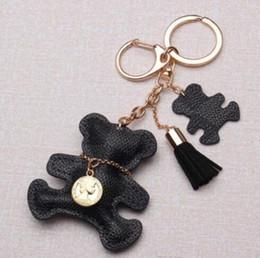 Keychains bears online shopping - New fashion Key Chain Accessories Tassel Key Ring PU Leather Bear Pattern Car Keychain Jewelry Bag Charm