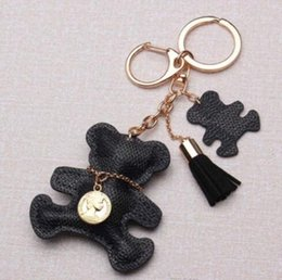 Wholesale New fashion Key Chain Accessories Tassel Key Ring PU Leather Bear Pattern Car Keychain Jewelry Bag Charm