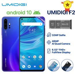 "Wholesale UMIDIGI F2 Phone Android 10 Global Version 6.53"" FHD+ 6GB 128GB 48MP AI Quad Camera 32MP Selfie Helio P70 Cellphone 5150mAh NFC"