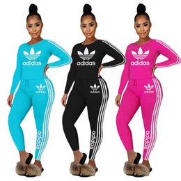 Wholesale fall neck t shirt online – design Women Brand Sweat suit hooded piece sets long sleeve t shirt leggings summer fall clothes casual Tracksuit solid color outfits