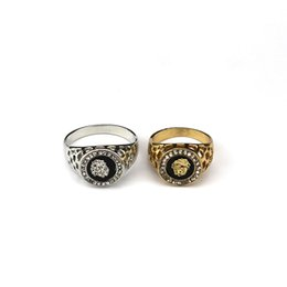 $enCountryForm.capitalKeyWord Australia - New Fashion Gold and Silver Colors Classic Men's Punk Style Hip Hop Ring Lion Head males man Finger rings for men women