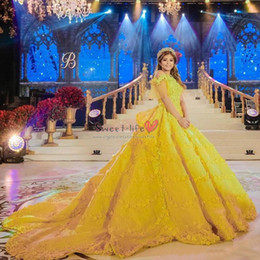 yellow ball gowns prom dresses 2021 - 2019 Long Beauty Princess Yellow Ball Gown Quinceanera Dresses 3D Flower Appliques Backless Prom Party Gowns Court Train Evening Wear