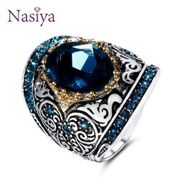 $enCountryForm.capitalKeyWord Australia - Peacock Blue Gemstone Rings For Women Men's 925 Silver Jewelry Ring Vintage Gift For Mother Grandmother