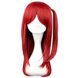 $enCountryForm.capitalKeyWord UK - Princess Anime Long Straight Red Ponytail Women Kanekalon Heat Resistant Cosplay Party Hair Full Wig Wigs