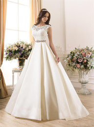 Ball zip online shopping - 2019 New Sheer Lace Wedding Dresses A Line Satin Beads Sash Low Zip Back Ivory Spring Capped Bridal Gowns Ball Dress Wedding Style