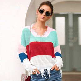 $enCountryForm.capitalKeyWord NZ - Women Knitted Sweater Color Block V Neck Long Sleeve Fringed Tassels Loose Casual Short Pullover Knitwear Female Autumn Jumper