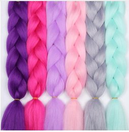 pink kanekalon braiding hair Australia - 24inch Ombre Kanekalon Synthetic Crochet Hair Extensions Jumbo Braids Hairstyles Pink Blonde Red Blue Braiding Hair