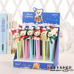 stationery Australia - 30 pcs Gel Pens Christmas plush bear black colored gel-inkpens for writing Cute stationery office school supplies