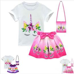 $enCountryForm.capitalKeyWord NZ - Unicorn Rainbow Dresses For Baby Girl Frock Clothes Summer Kid T Shirt short Skirt shoulder bag 3PC Outfit Cartoon Print Clothes LT1128