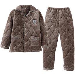 ea2863acd2c Men Pajama Set Pyjamas Suits Winter Three-layer quilted Thick Coral Fleece  Warm Sleepwear Night Suit Men Nightwear Loungewear