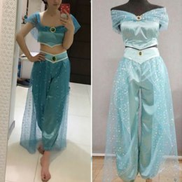aladdin costumes NZ - Modish Aladdin Jasmine Princess Cosplay Women Girl Short Sleeve Summer Fancy Dress Up Party Cosplay Costume Sets