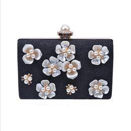 Evening Purses Flowers Australia - Woman Evening Bag Gold Glittered Pearl Flower Clutch Bags Wallet Wedding Purse Party Banquet Girls Shoulder Messenger Bags Chain