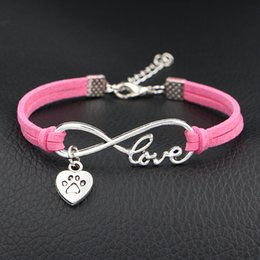 dog chain bracelet Canada - Antique silver Plated Infinity Love Pets Dog Paw Heart Charm Bracelets Bangles Women Men Hot Pink Leather Gift Adjustable Expandable Jewelry