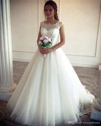 Slim Modern Wedding Dresses Australia - 2019 Vintage Lace Appliques A-Line Cap Sleeves Wedding Dresses Princess Ball Gowns Simple Slim Bridal Gowns Modest Cusotm Vestidos De Mariee