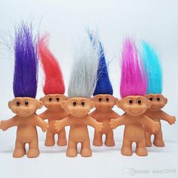 Venta al por mayor de 8 cm Muñecas de acción de muñecas Trolls Muñeca Super linda 5 estilos con el pelo largo La Buena suerte Trolls Regalos de juguete para niños