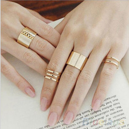 $enCountryForm.capitalKeyWord Australia - 1 Set 3 Pcs Punk Gold Silver Rings Female Anillos Stack Plain Band Midi Mid Finger Knuckle Rings Set for Women Anel Rock Jewelry