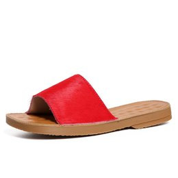 $enCountryForm.capitalKeyWord Australia - Women's Red Leather Slippers Sexy Ladies Open-toe Mules Summer Style Flat Slides Woman Casual Shoes Box packing 6698-7
