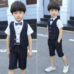 Kids tie shirts online shopping - Big Boy Suit Kids Designer Brand Vest Suit Blue Dazzling Tie Button Short Sleeve White Shirt Striped Four Piece Breathable Fabric