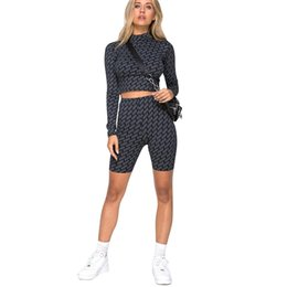 two piece crop top short sets Canada - wholesale 2 Piece Set Women 2019 Crop Top Shorts Two Piece Set Print Long Sleeve T-shirt Suit Woman Clothes Fashion Female Clothing