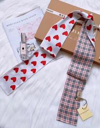 $enCountryForm.capitalKeyWord Australia - Fashion classic brand Plaid heart splice Silk scarf fashion men and women hair band handbags bag decorative band