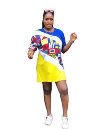 womens longer shorts 2019 - Summer Panelled Print Womens Long Tshirts Fashion O-Neck Short Sleeve Womens Tops Ladies Loose Relaxed Tees discount wom