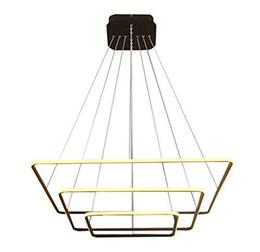 Cuadrado moderno Led Araña Lámpara colgante ajustable Colección de tres anillos Techo contemporáneo Luz colgante en venta