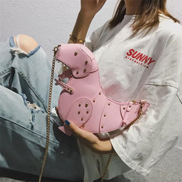 $enCountryForm.capitalKeyWord Australia - Cutely Dinosaur Shoulder Bags For Women 2019 New Hip-hop Style Rivets Leather Chain Coin Purses Girls Clutch Messenger Handbag