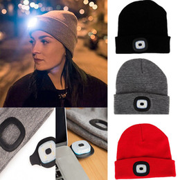 $enCountryForm.capitalKeyWord NZ - New Unisex Winter Outdoor Fishing Running Knitted Rechargeable LED Beanie Hat Light Up Climbing Pullover Cap For Camping