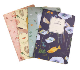 mini school supplies NZ - 4PCS Set Kawaii Cute Flowers Birds Animal MINI Notebook Painting of Diary Book Journal Record Office School Supplies