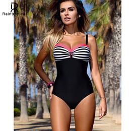 be7ab257c32c7 Raintropical 2019 New Plus Size Swimwear One Piece Swimsuit Women Patchwork Bathing  Suits Female Large Swim Wear Blue Black Dot