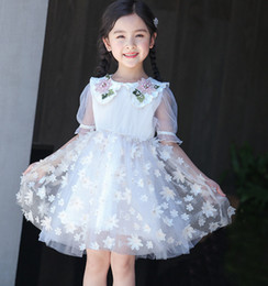 beaded embroidered lace Australia - Flowers girls dresses kids beaded floral embroidery falbala sleeve princess dress children stereo petals applique lace tulle tutu dress F834