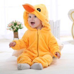 $enCountryForm.capitalKeyWord NZ - Fashion Flannel Rompers Spring Autumn Baby Clothes Baby Clothes Cartoon Animal Jumpsuit Girl Rompers Baby Clothing