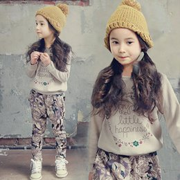 Wholesale Retail Teenage Girls Clothing Set Autumn New Kids Girls Clothes Sports Suit Long Sleeve Top Pants White Black