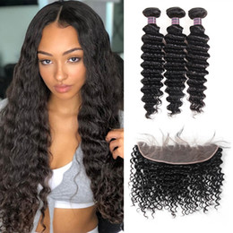 Discount color human hair bundles closure - Indian Human Hair Bundles With Closure Wholesale 8A Brazilian Hair 3Bundles With 13*4 Lace Frontal Closure Deep Wave Vir