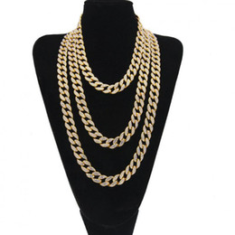 Iced Out Bling Rhinestone Golden Silver Finish Miami Cuban Link Chain Necklace Men's Hip Hop Necklace Jewelry 16 18 20 24 Inch